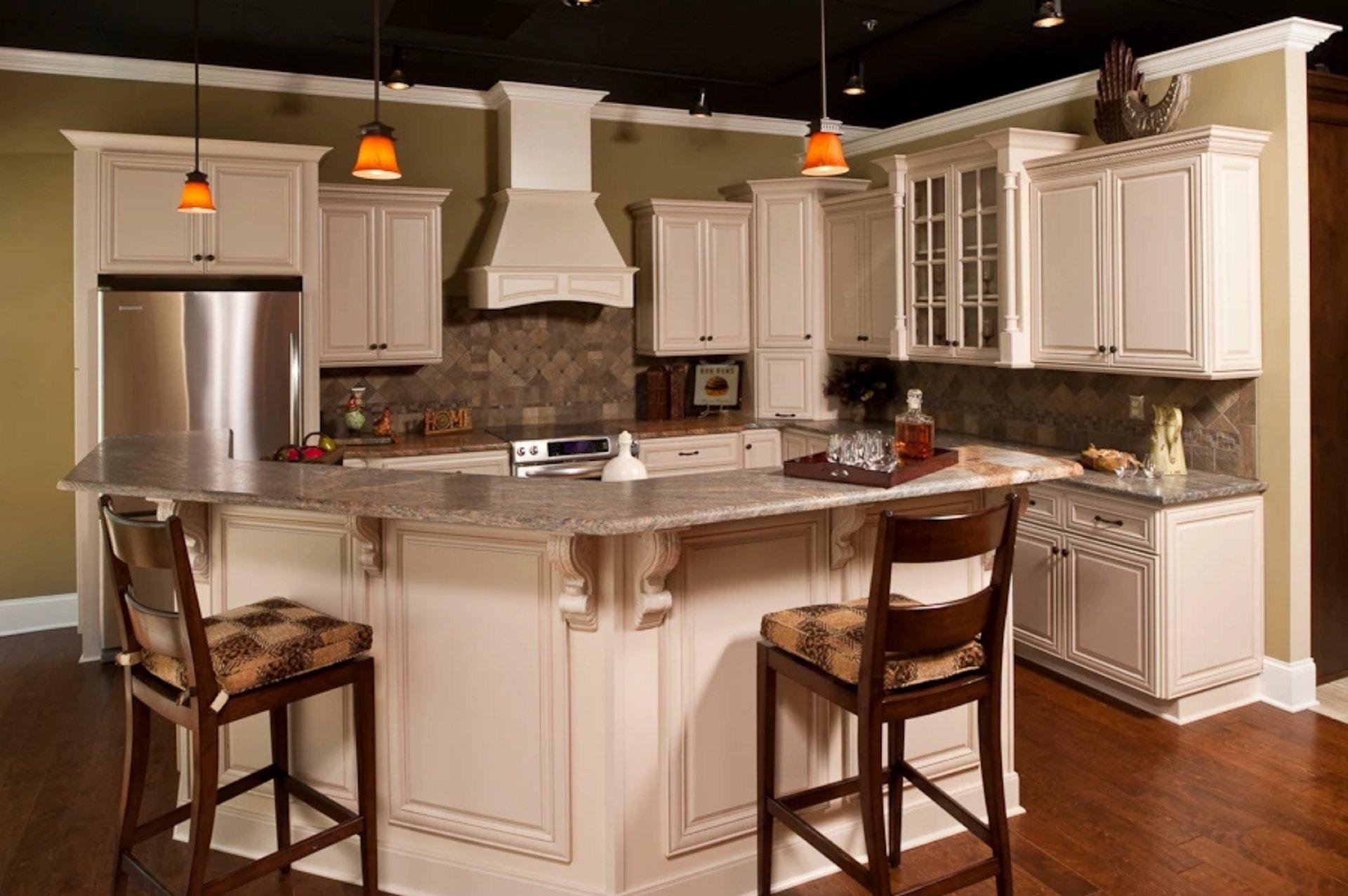 Cream Kitchen Cabinets with Mocha Glaze | RTA Kitchen ...