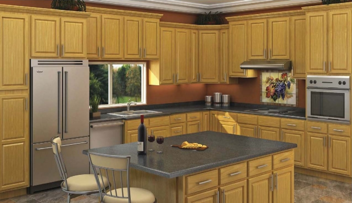 Honey oak kitchen cabinet depot Kitchen design with light oak cabinets