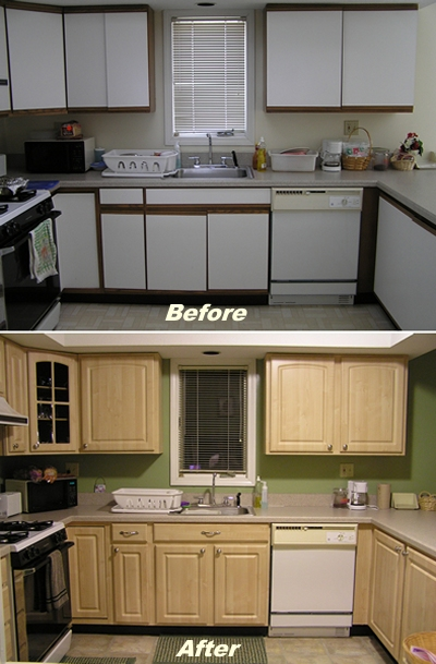 Cabinet refacing advice article kitchen cabinet depot for Before and after pictures of painted laminate kitchen cabinets