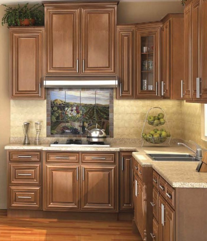 Stained Kitchen Cabinets: Pecan Stained Cabinets