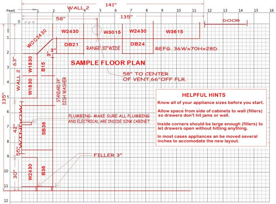 sample kitchen layout sheet - Kitchen Cabinet Layout Software